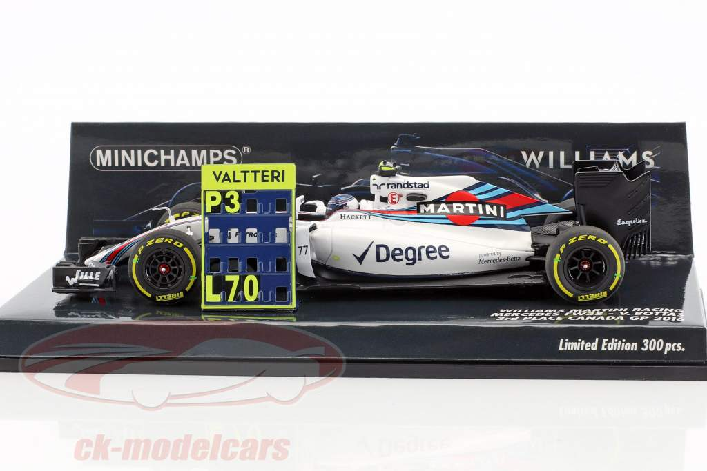 Valtteri Bottas Williams FW38 #77 3rd Canada GP formula 1 2016 1:43 Minichamps