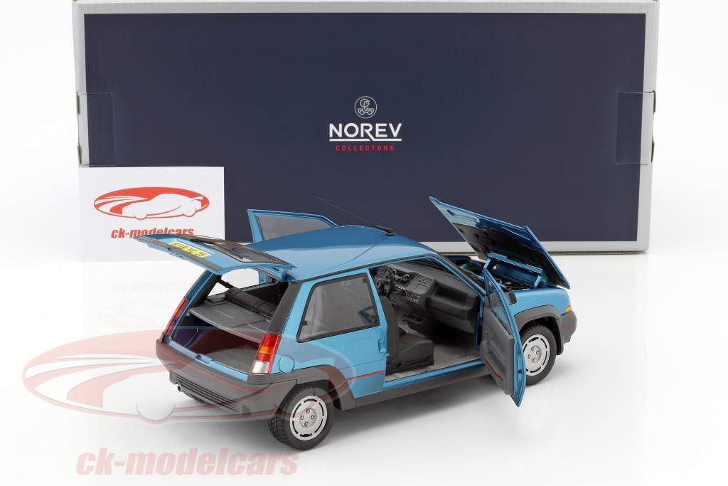 Renault SuperCinq GT Turbo Year 1986 blue metallic 1:18 Norev