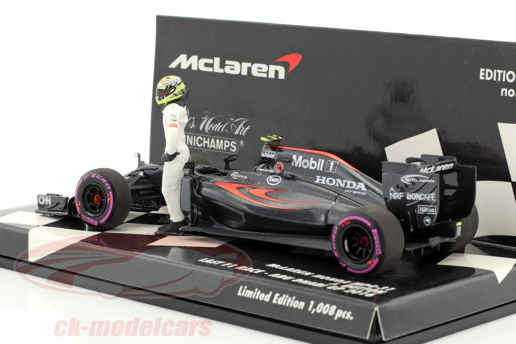 Jenson Button McLaren MP4-31 #22 Final GP Abu Dhabi F1 2016 with driver figure 1:43 Minichamps