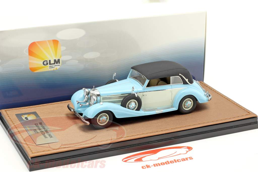 Mercedes-Benz 540K Cabriolet B Closed version year 1937 light blue / white 1:43 GLM