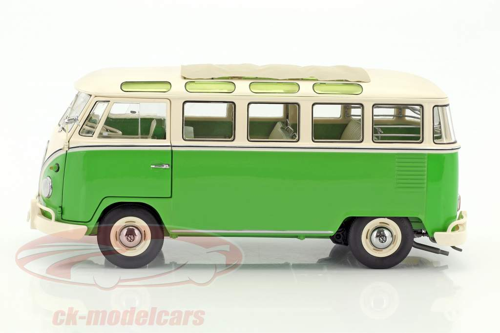 Volkswagen VW T1 Samba Bus year 1959-1963 green / white 1:18 Schuco