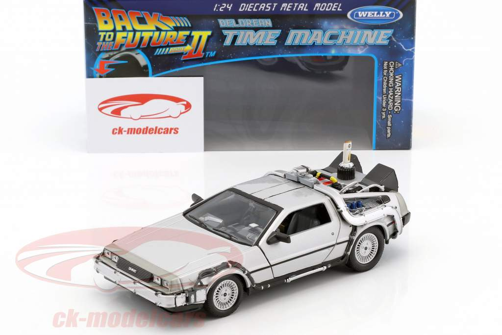DeLorean Time Machine Flying Wheel Version Movie Back to the Future II (1989) silver metallic 1:24 Welly