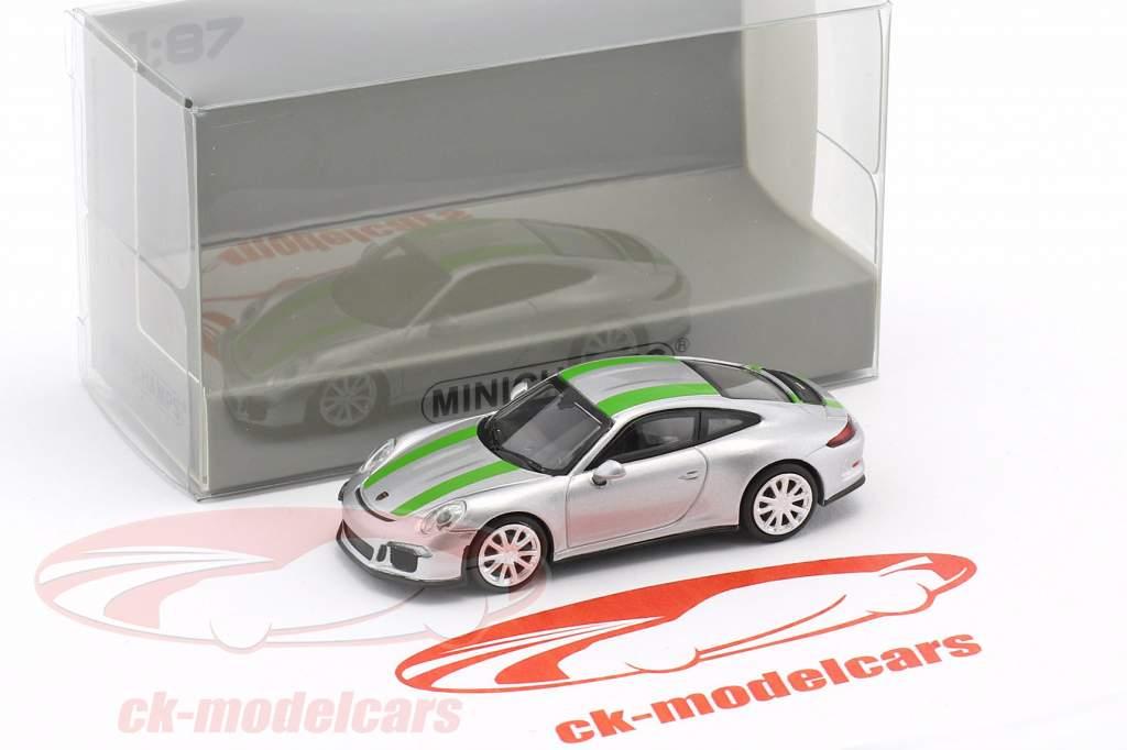 Porsche 911 (991) R année de construction 2016 argent avec vert rayures 1:87 Minichamps