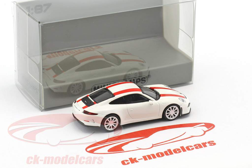Porsche 911 (991) R year 2016 white With redden strip 1:87 Minichamps