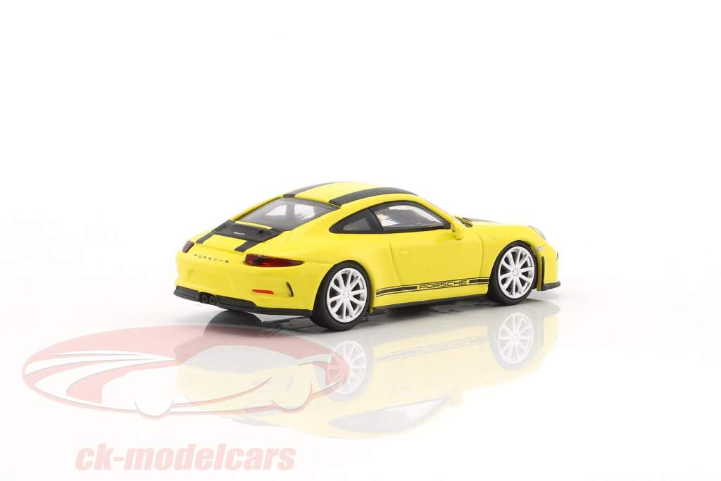 Porsche 911 (991) R year 2016 yellow with black stripes 1:87 Minichamps
