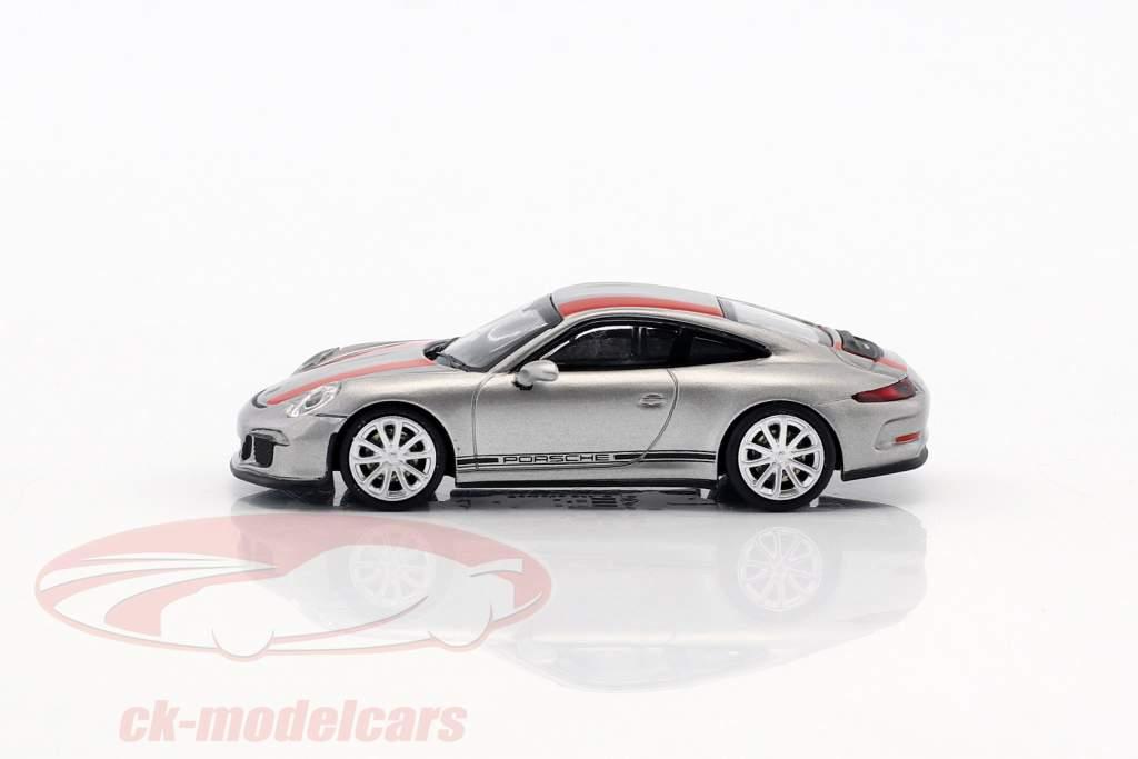 Porsche 911 (991) R année de construction 2016 argent avec rouge rayures 1:87 Minichamps