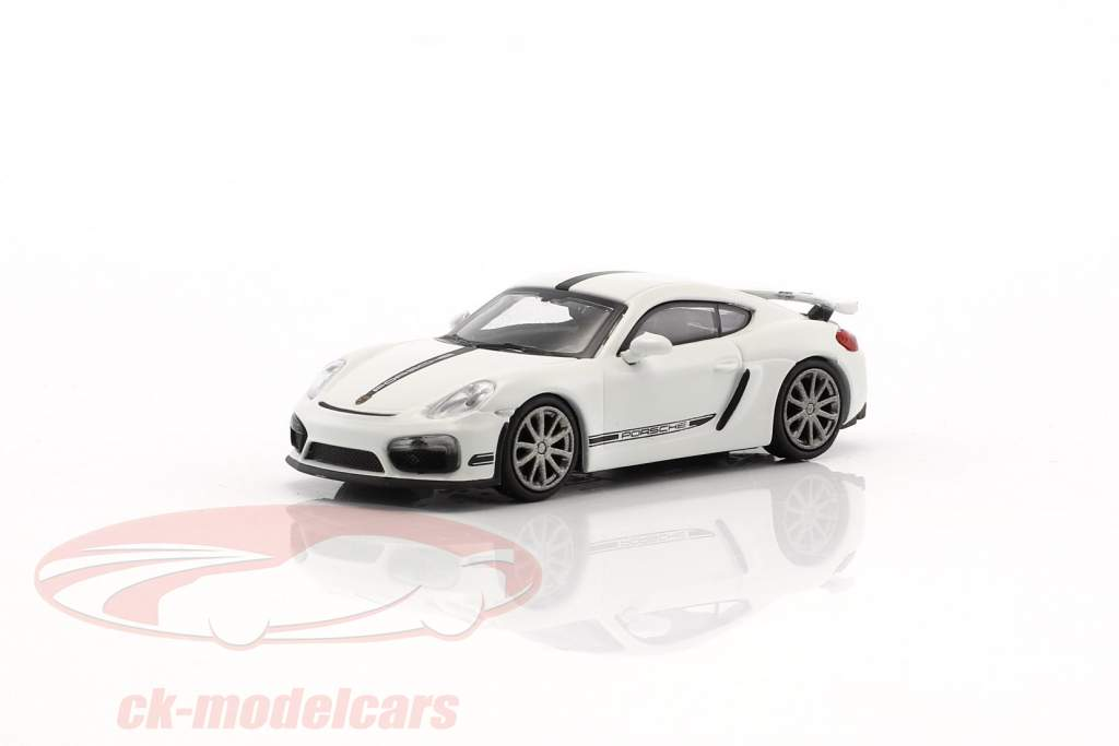 Porsche Cayman GT4 année de construction 2016 blanc avec noir bande 1:87 Minichamps