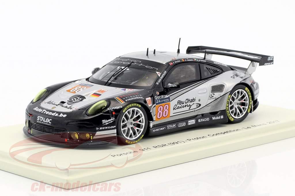Porsche 911 RSR #88 24h LeMans 2017 Bachler, Lemeret, Al Qubaisi 1:43 Spark