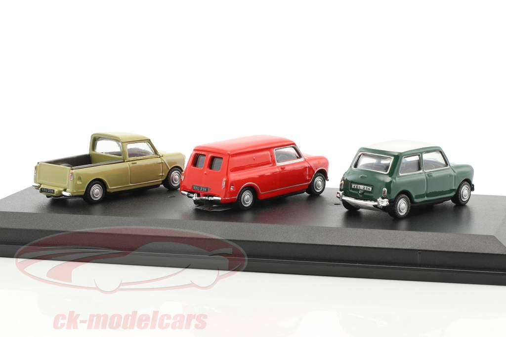 3-Car Set Mini Cooper green / Mini Panel Van red / Mini Pick-Up beige 1:72 Cararama