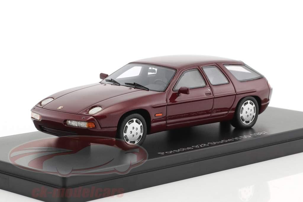 Porsche 928 Studie H50 Concept Car year 1987 dark red metallic 1:43 Neo