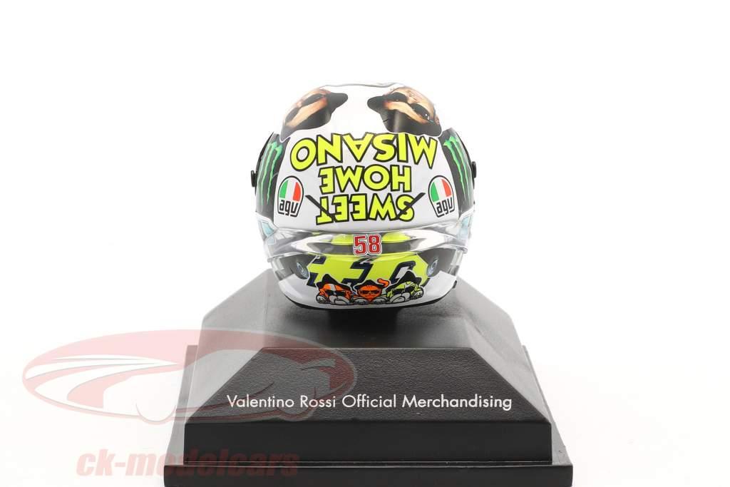 Valentino Rossi MotoGP Misano 2016 AGV Helm 1:8 Minichamps