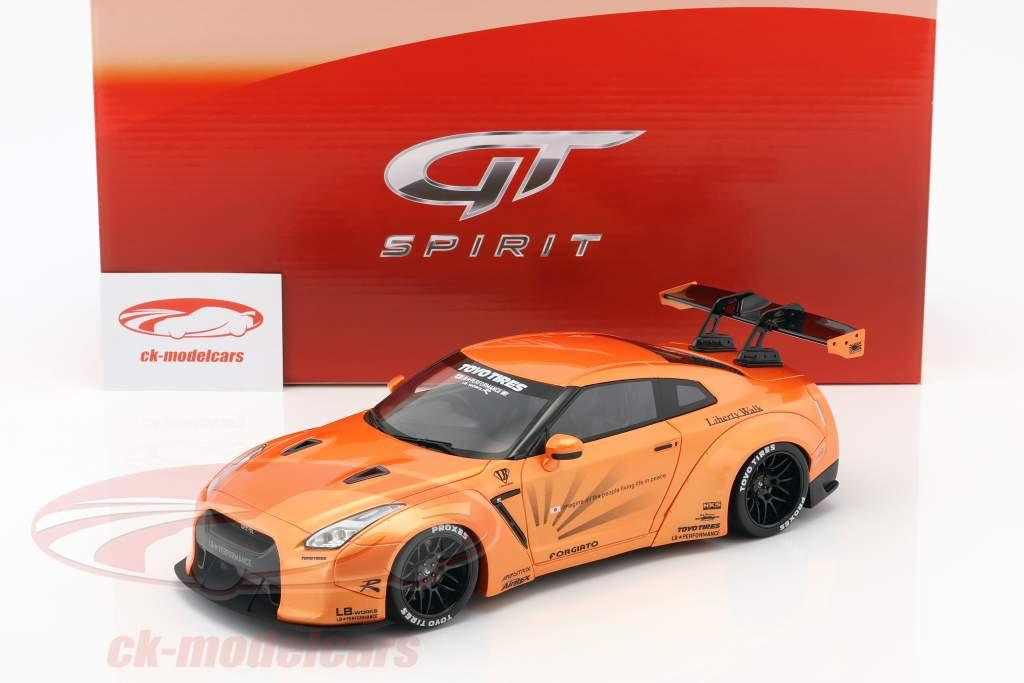 LB Nissan GTR R35 année de construction 2016 orange métallique 1:18 GT-Spirit