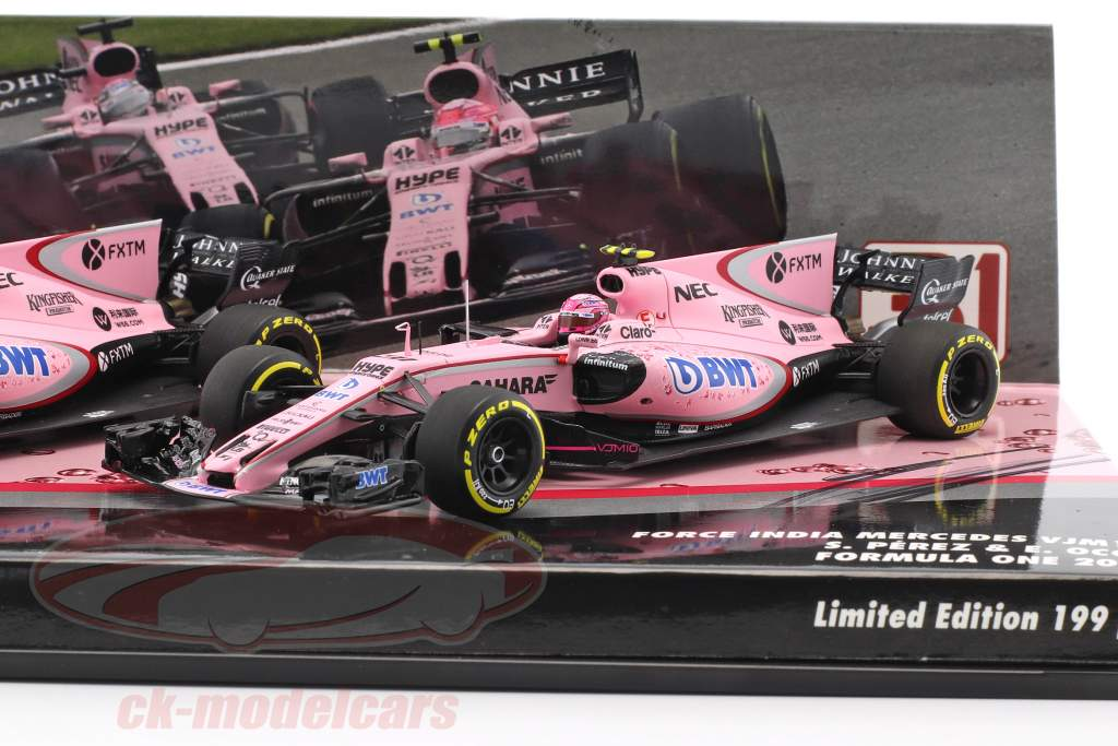Perez & Ocon Force India VJM10 2-Car Set Formel 1 2017 mit Original-Unterschriften 1:43 Minichamps