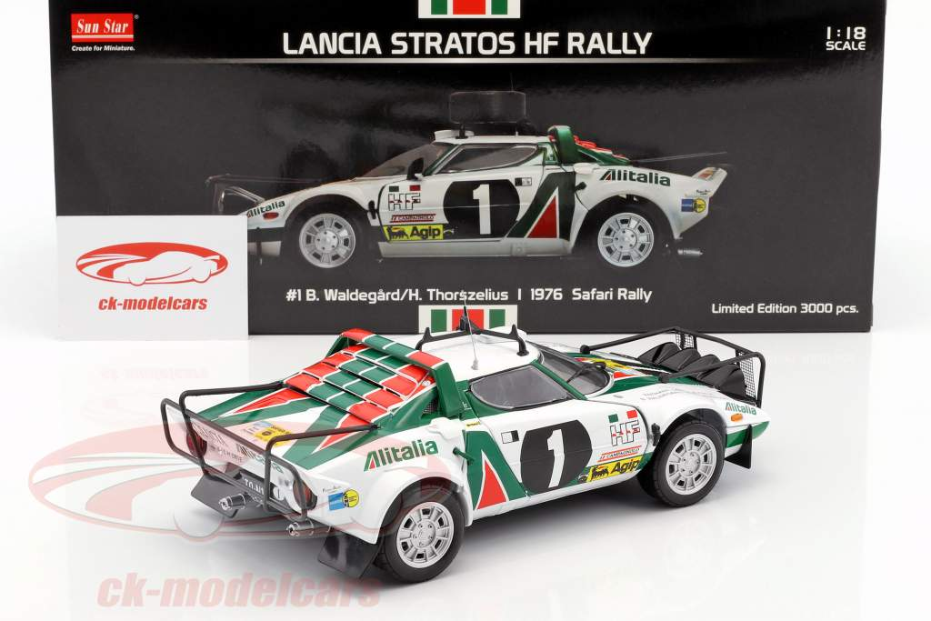 Lancia Stratos HF Rally #1 Safari Rally 1976 Waldegard, Thorszelius 1:18 SunStar