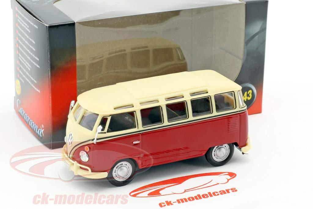 Volkswagen VW T1 Samba Bus red / cream white 1:43 Cararama