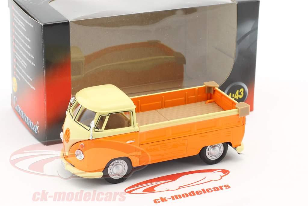 Volkswagen VW T1 Pick-Up orange / cream yellow 1:43 Cararama