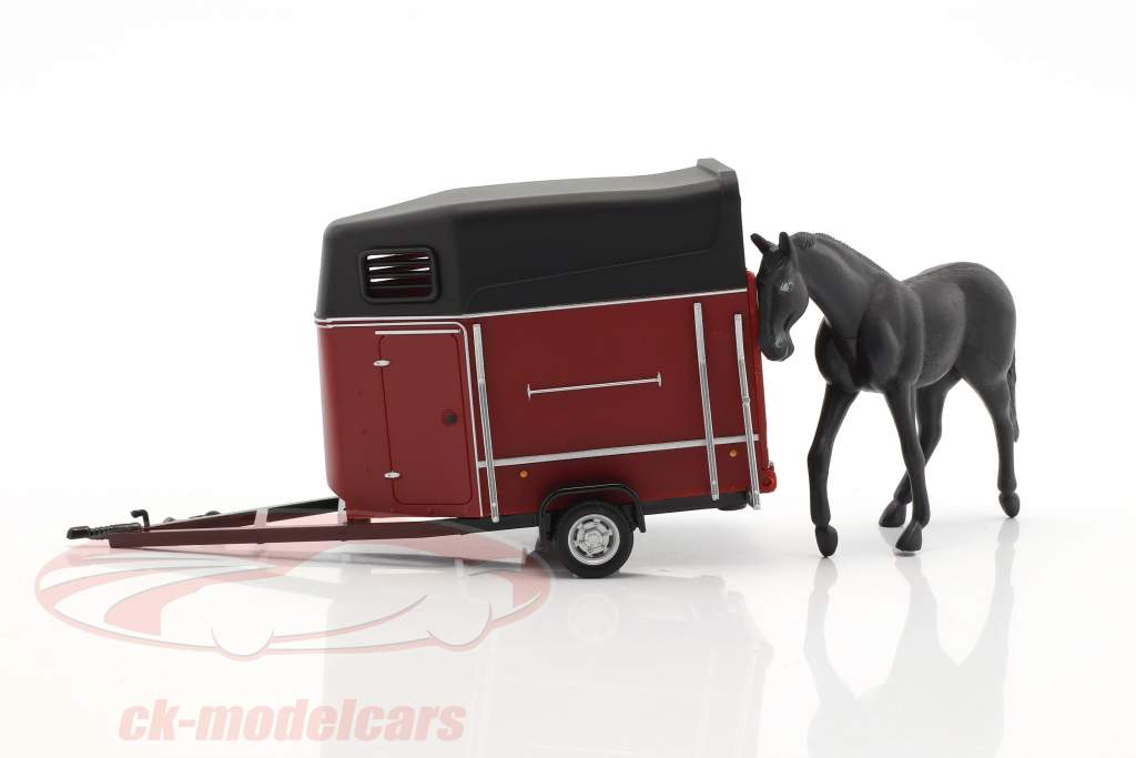 Horse trailer with horse dark red / black 1:43 Cararama