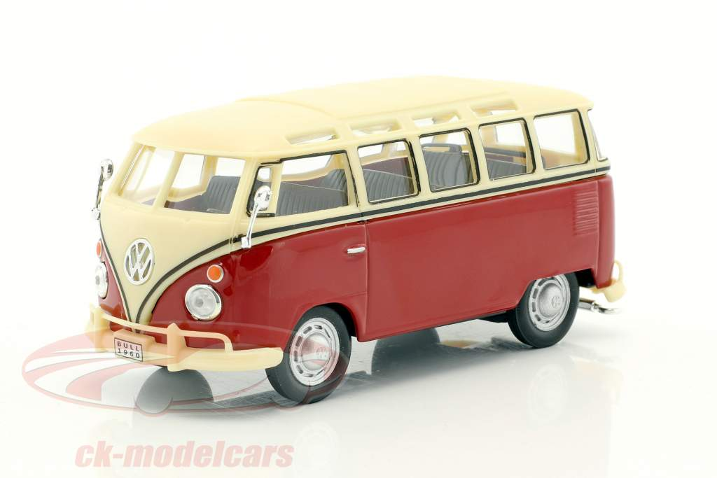 Volkswagen VW T1 Samba Bus rot / creme weiß 1:43 Cararama
