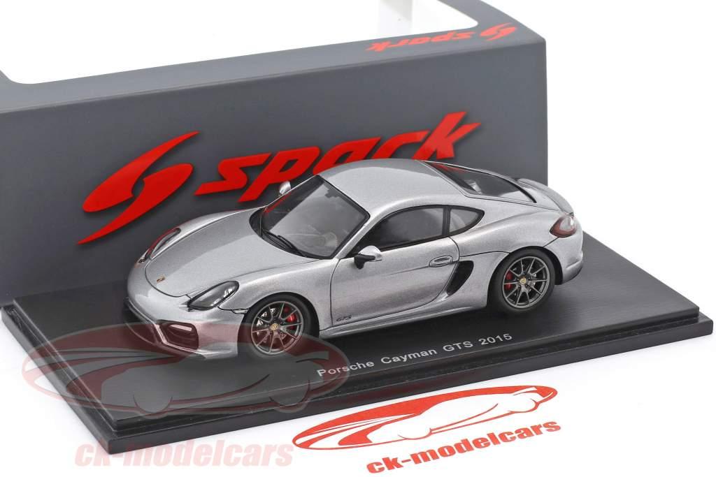 Porsche Cayman GTS année de construction 2015 argent métallique 1:43 Spark