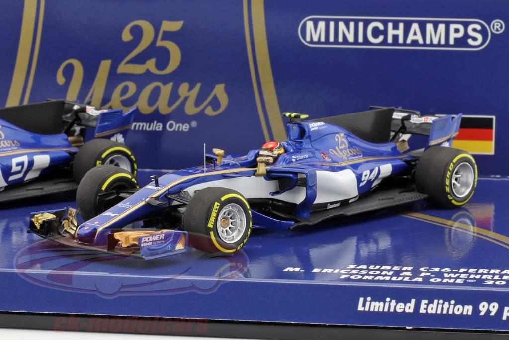 M. Ericsson #9 & P. Wehrlein #94 2-Car Set Sauber C36 formule 1 2017 1:43 Minichamps