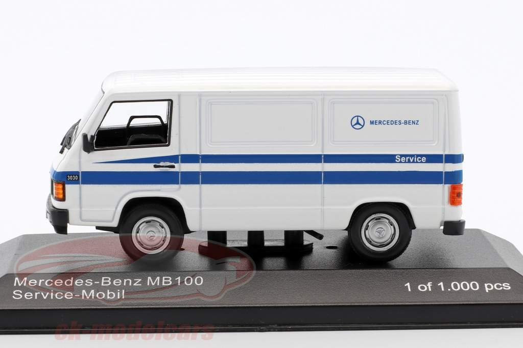 ck modelcars wb266 mercedes benz mb 100 van mercedes service white blue 1 43 whitebox ean. Black Bedroom Furniture Sets. Home Design Ideas