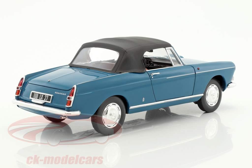 Peugeot 404 Cabriolet year 1967 mendoza blue 1:18 Norev