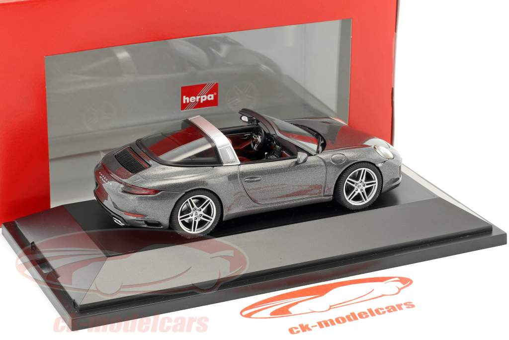 Porsche 911 (991) Targa 4S grigio agata metallico 1:43 Herpa