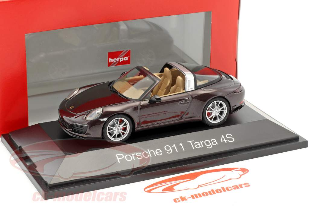 Porsche 911 (991) Targa 4S mogano metallico 1:43 Herpa