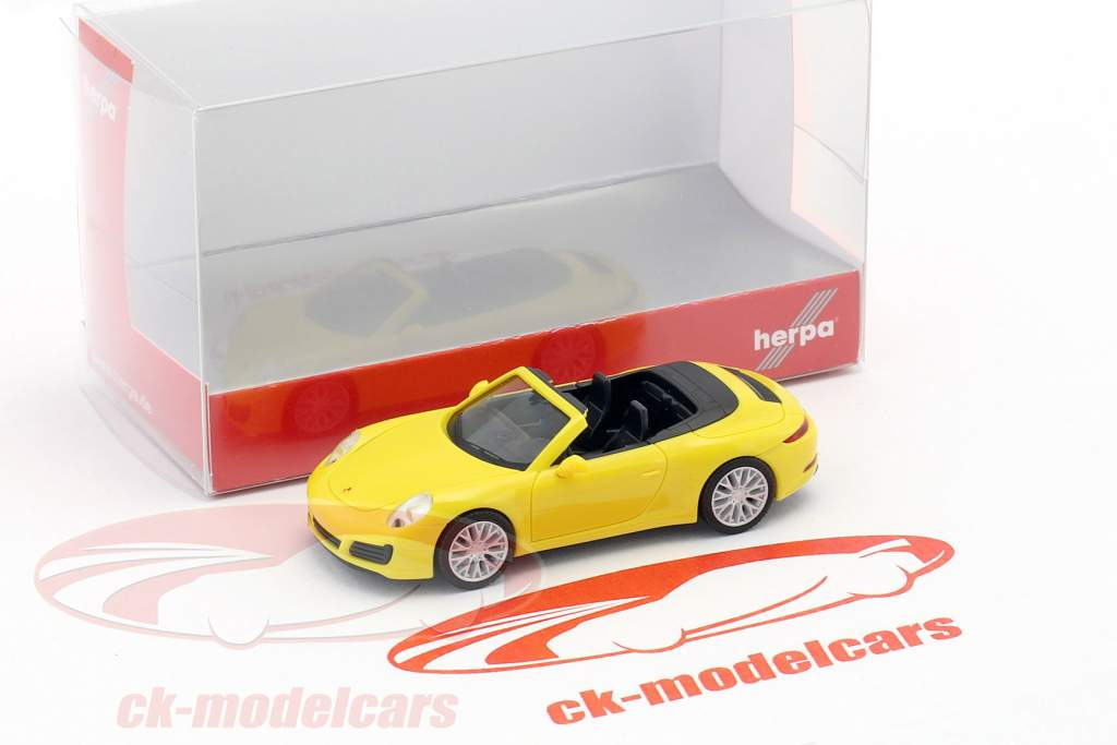 Porsche 911 (991) Carrera 4S Cabrio racing gelb 1:87 Herpa