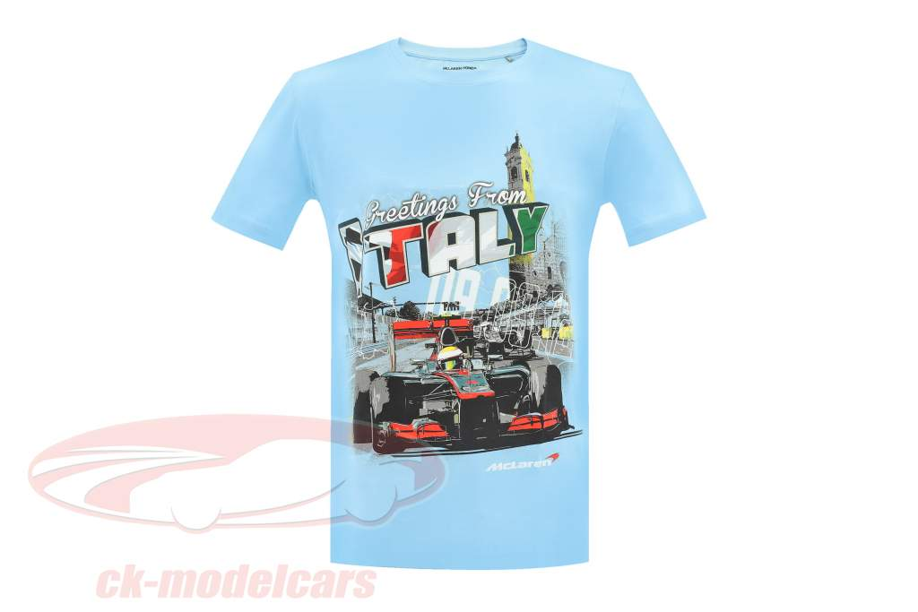 McLaren Greetings from Italy Lewis Hamilton F1 2009 T-shirt bleu clair