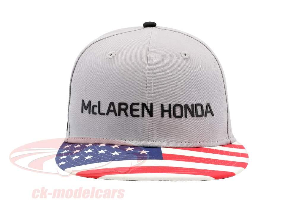 McLaren Honda formule 1 2017 Alonso & Vandoorne Special Edition USA Cap gris S/M