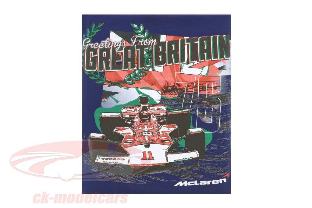 McLaren Greetings from Great Britain Emerson Fittipaldi McLaren M23 Maglietta blu