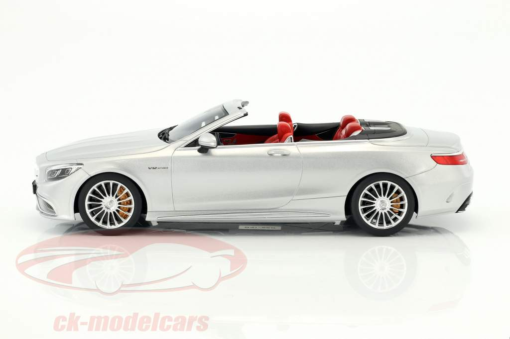 Mercedes-Benz AMG S 65 Convertible year 2017 silver metallic 1:18 GT-Spirit