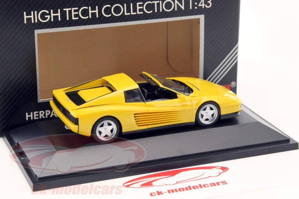 3-Car set Ferrari 348 TS, F40 & Testarossa Spyder yellow 1:43 Herpa