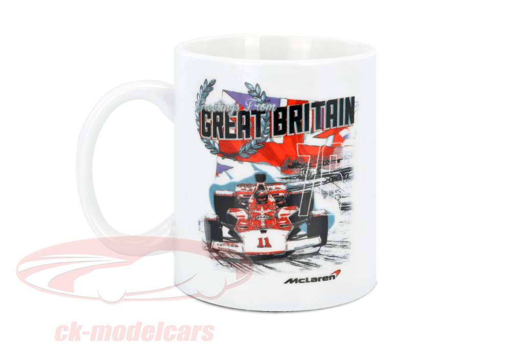McLaren Greetings from Great Britain Emerson Fittipaldi McLaren M23 tazza bianco