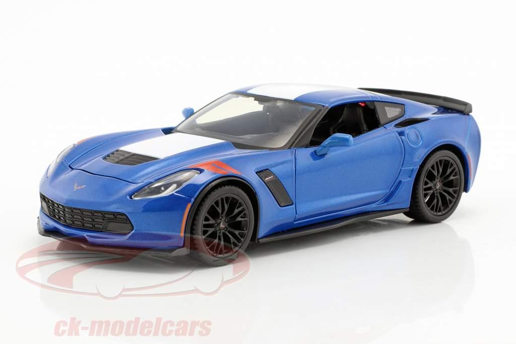 Chevrolet Corvette Grand Sport année 2017 bleu / blanc 1:24 Maisto
