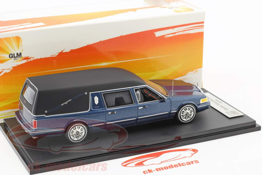 Lincoln Town Car Hearse year 1997 blue metallic 1:43 GLM