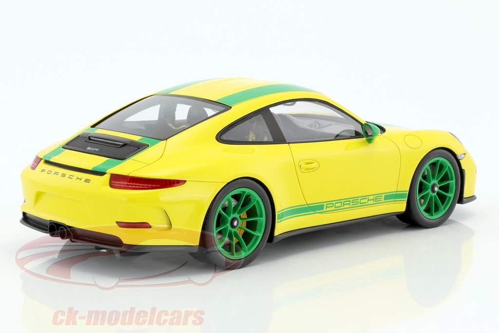 Porsche 911 (991) R anno di costruzione 2016 giallo / verde 1:18 Spark
