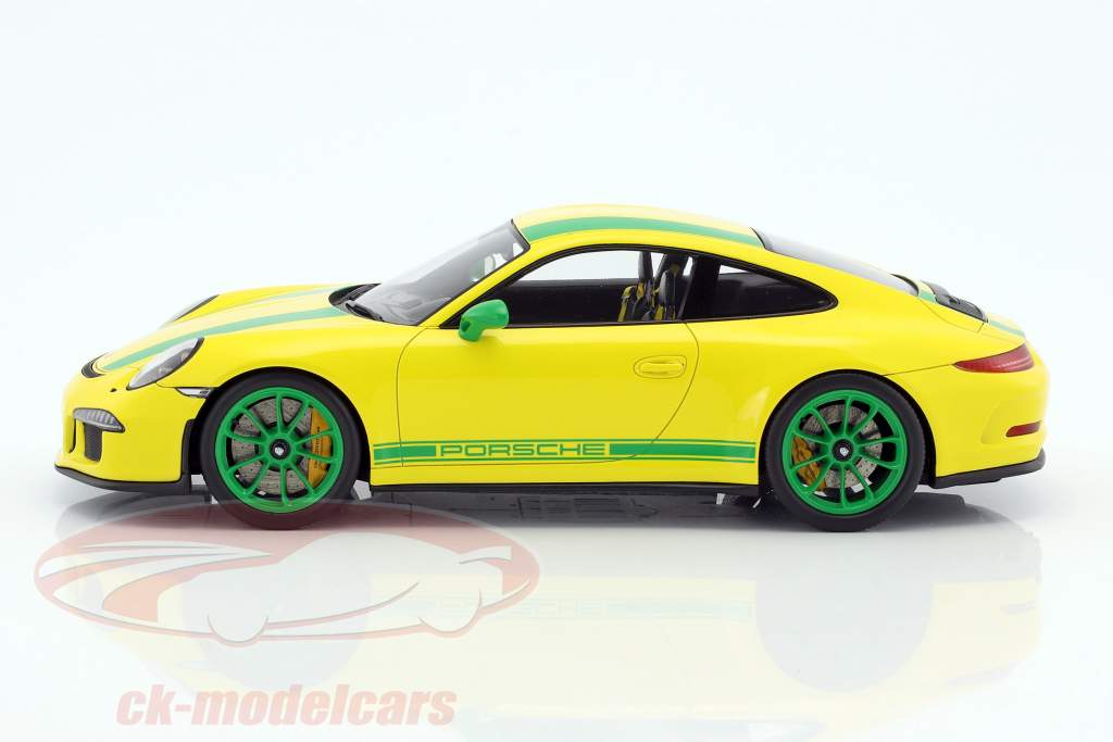 Porsche 911 (991) R Baujahr 2016 gelb / grün 1:18 Spark