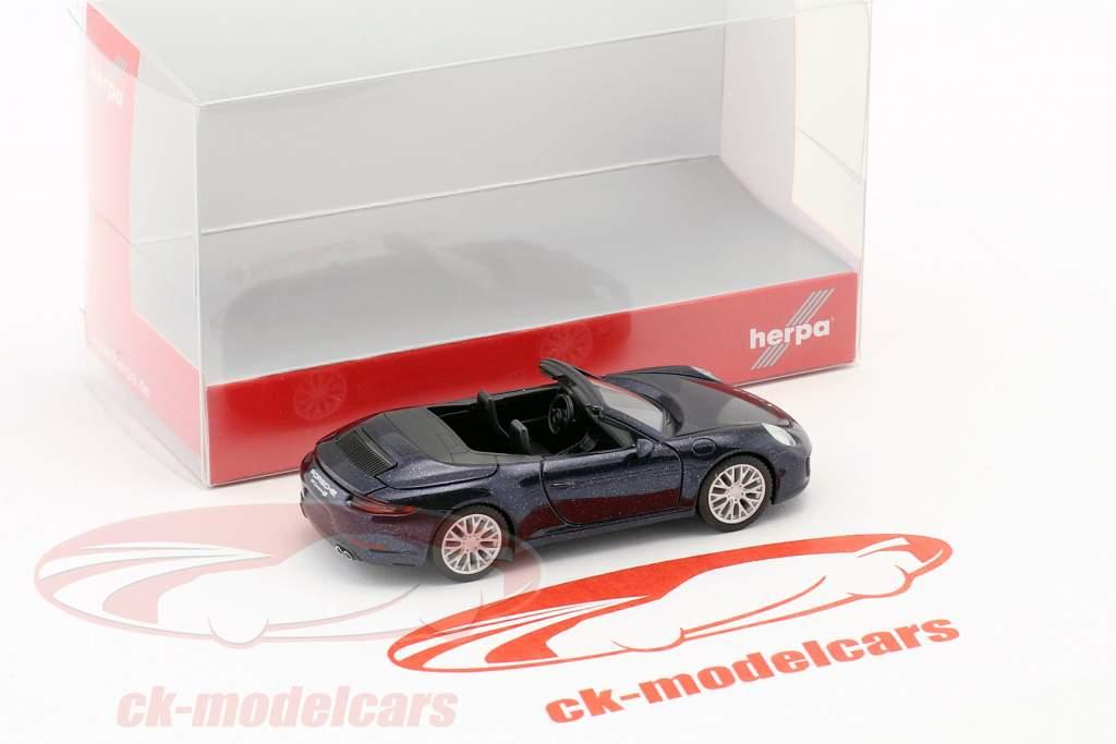 Porsche 911 (991) Carrera 4S Cabriolet dark blue metallic 1:87 Herpa