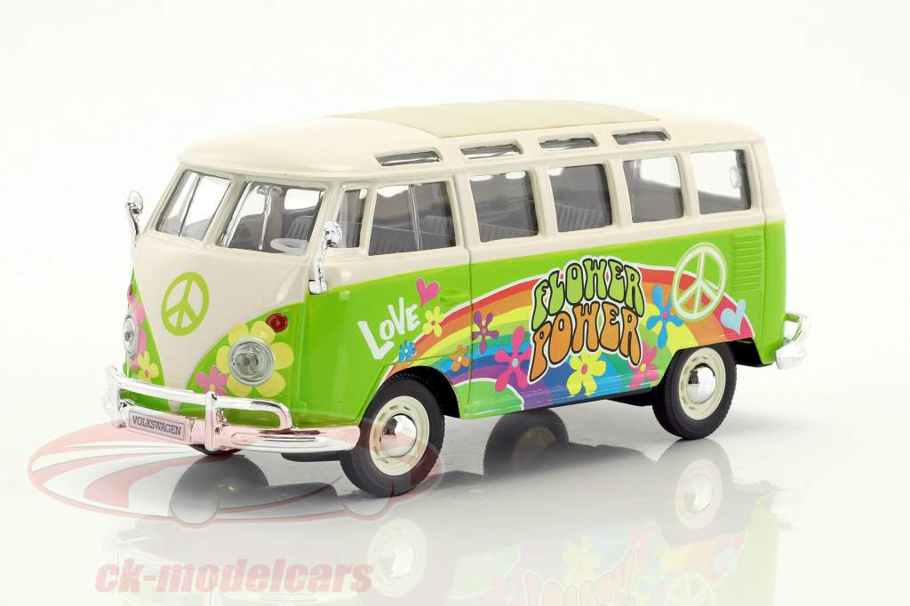 Volkswagen VW T1 Samba Bus Hippie Line Flower Power bright green / white 1:24 Maisto