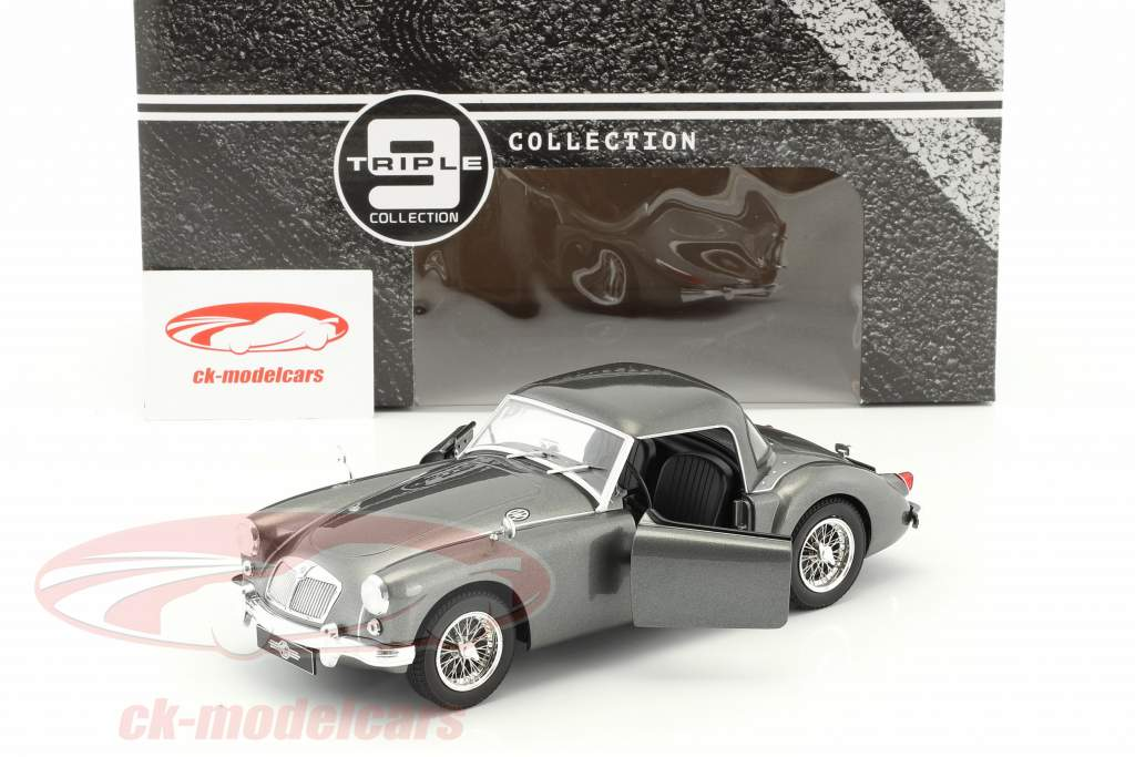 MGA MKI A1500 Convertible Closed Top year 1957 gray metallic 1:18 Triple 9