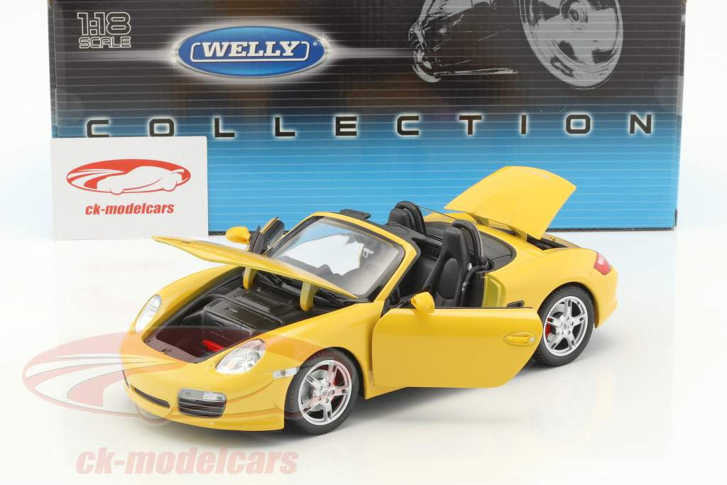 Porsche Boxster S Open Top yellow 1:18 Welly