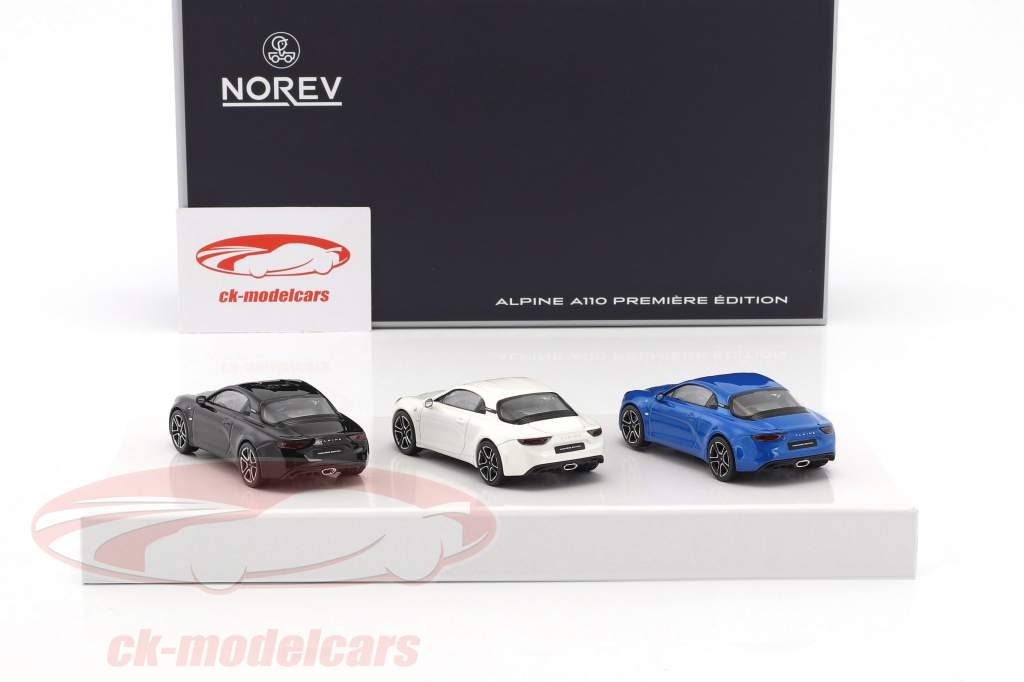 3-Car Set Alpine A110 Premiere Edition 2017 blue / white / black 1:43 Norev