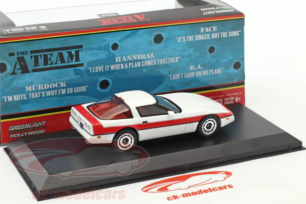 Chevrolet Corvette C4 Baujahr 1984 TV-Serie Das A-Team (1983-87) weiß / rot 1:43 Greenlight