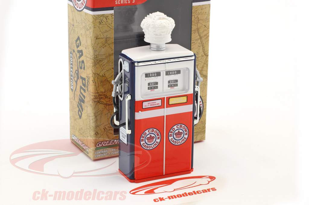 Tokheim 350 Red Crown Gasoline gas pump 1954 red / white / blue 1:18 Greenlight