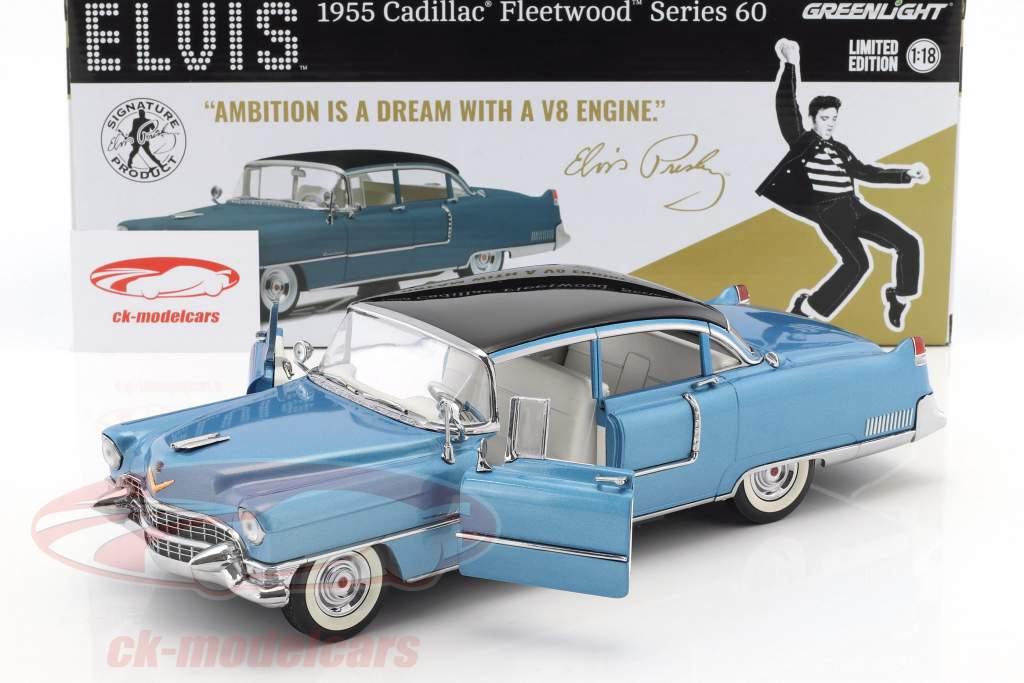 Cadillac Fleetwood Elvis Series 60 Baujahr 1955 dunkelblau 1:18 Greenlight