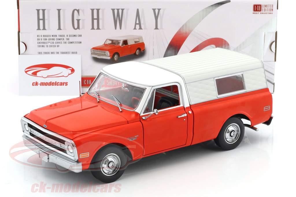 Chevrolet C10 Pick-Up Camper anno di costruzione 1970 rosso / bianco 1:18 Greenlight