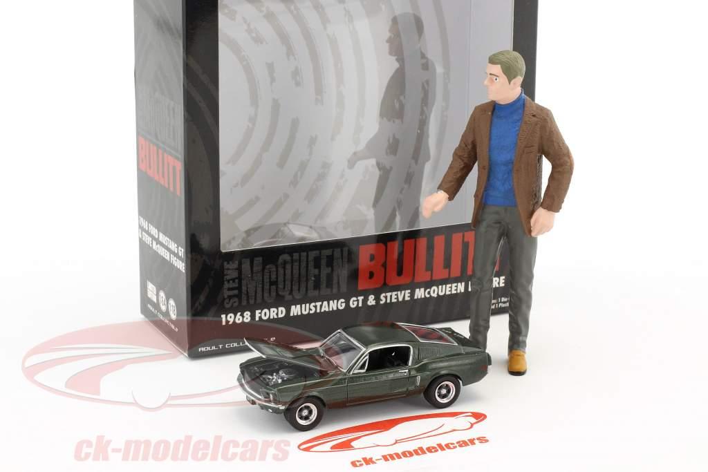 Figur Steve McQueen 1:18 & Ford Mustang GT 1968 Film Bullitt (1968) grün metallic 1:64 Greenlight