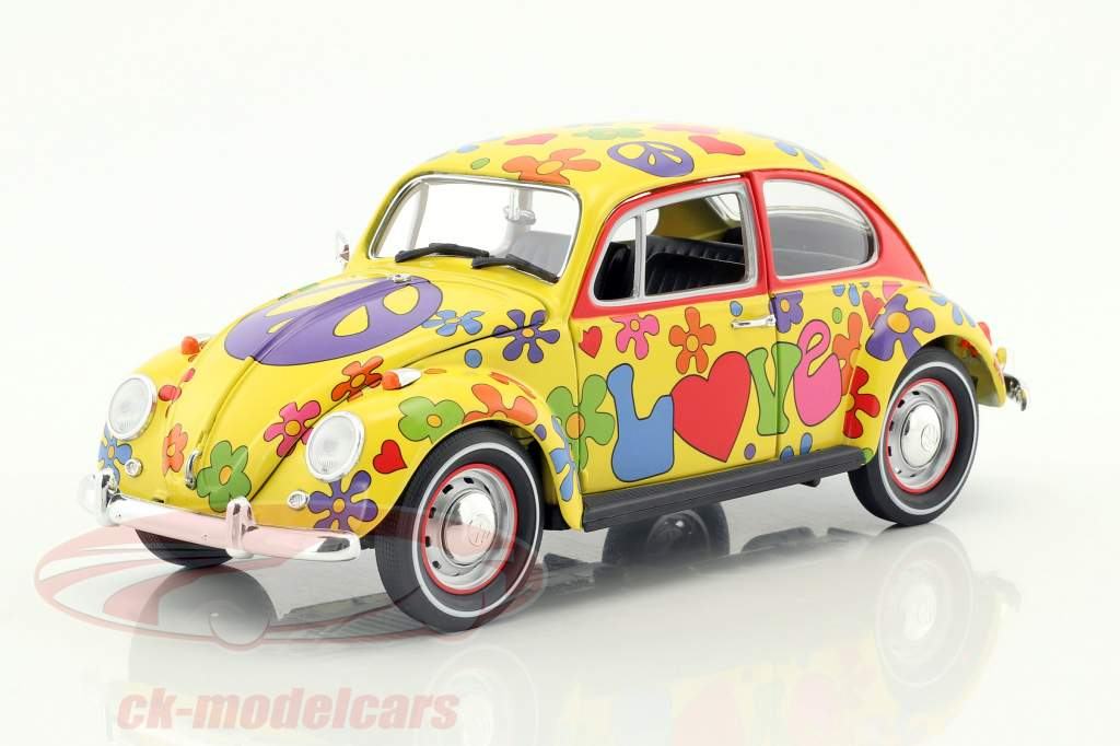 Volkswagen VW Käfer Hippie RHD Baujahr 1967 gelb / flowerpower 1:18 Greenlight